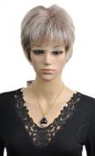 Yazilind Elegant Women Short Straight Wavy Bob Synthetic Hair Full Wig