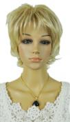 Yazilind Elegant Lady Short Blonde Brown Straight Wavy Synthetic Hair Full Wig