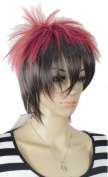Yazilind Red Black Mix Multicolor Punk Spiky Straight Unisex Full Hair Cosplay Anime Costume Wig