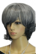 Yazilind Short Grey Silver Mix Straight Wavy Heat Resistant Fibre Synthetic Hair Full Cosplay Anime Costume Wig