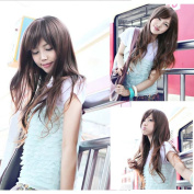 2013 New Sexy Womens Girls Fashion Style Long Wavy Curly Oblique Bangs Hair Full Wigs Brown Colour