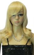 Yazilind Women's Medium Long Blonde Straight Wavy Heat Resistant Full Hair Wig