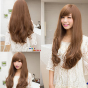 New Sexy Womens Girls Fashion Style Wavy Curly Long Hair Full Wigs Oblique Bangs Cosplay 3 Colours