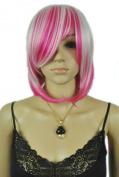 Yazilind Short Medium Rose Red White Mix Multi-Coloured Cosplay Costume Anime Straight Full Hair Wig