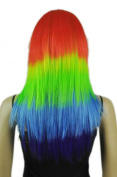 Yazilind Girl's Colourful Rainbow Red Gren Blue Mix Long Straight Cosplay Costume Party Full Hair Wig