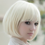 Autofor New Popular Cosplay Hallowmas Kanekalon Short Straight BOB Sexy . Synthetic Hair Wig White