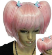 Yazilind Pink Roromiya Karuta Clip-on Ponytail Full Bangs Heat Resistant Fibre Synthetic Cosplay Anime Costume Wig