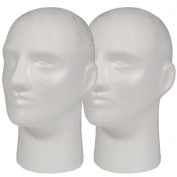 2pc A1Pacific 28cm Male STYROFOAM FOAM MANNEQUIN head wig display hat glasses