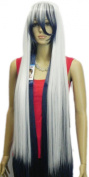 Yazilind White Silver Blue Mix Long Straight Hair Full Cosplay Anime Costume Wig