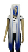 Yazilind Blue White Mix Straight Long Rapunzel Tangle Hair Full Cosplay Anime Costume Wig