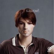 New Handsome Men & boys Short Straight Light Brown Hair Japan Kanekalon Wig High Quality