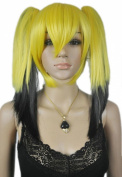 Yazilind Loli Lolita 2 Clip-on Ponytail Long Straight Yellow Black Full Hair Cosplay Anime Costume Wig