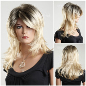(WG-ZL1016-24BR6)Medium Style Wave Hair Wig,Root colour with blond