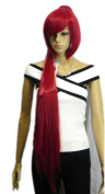 Yazilind Bob Long Straight Fire Red Ponytail Synthetic Hair Full Wig