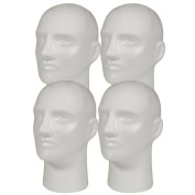 4pc A1Pacific 28cm Male STYROFOAM FOAM MANNEQUIN head wig display hat glasses