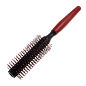 Rosallini Lady Red Round Handle DIY Curly Hair Black Plastic Flexible Roll Brush Comb