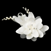 Alana Silver Ivory Matt Satin Rhinestone & Freshwater Pearl Flower Hair Comb Wedding Bridal Special Occasion