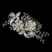 Annette Antique Rhodium Rhinestone Floral Flower & Vine Hair Comb Wedding Bridal Special Occasion