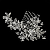 Valerie Antique Rhodium Rhinestone Floral Wedding Bridal Special Occasion Comb