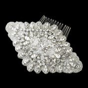 Tamara Ivory Rhodium Rhinestone & Glass Bead Fabric Wedding Bridal Special Occasion Comb