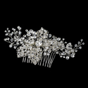 Lisa Silver Rhinestone Comb with Leaves Wedding Bridal Special Occasion