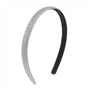 Sliver Tone Glitter Powder Black Plastic Headband Hair Hoop