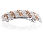 Interphase Dual Colour Rhinestone Horsetail Hair Barrette in Silver Tone