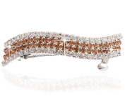 Wavy Dual Colour Rhinestone Horsetail Hair Barrette in Silver Tone