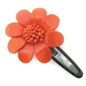 Orange Floral Barrette Genuine Leather Hair Pinch Clip