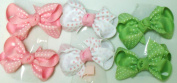 Sj.161, Set of Six Multicolor Polka Dot Ribbon Hair Bow Clip on French Barrette for Teens and Young Girls