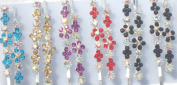 Hrclip001 Set of Six Multicolor Crystals Rhinestone Flowers on French Barrette Hair Clips for Women and Teens
