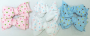 Sj.157, Set of Six Multicolor Polka Dot Ribbon Hair Bow Clip on French Barrette for Teens and Young Girls