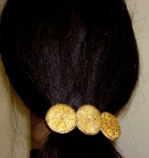 Three Antique Gold Plated Buttons on French Barrette Hair Clip