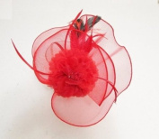 Elegant Cocktail Fascinator Headband Red --- By Pixiheart
