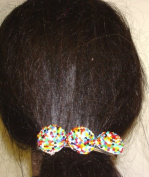 Three Multicolor Beaded Buttons on French Barrette Hair Clip for Women and Teens