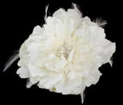 Light Cream / Diamond White Bridal Flower with Feathers Hair Clip