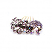 Retro colourful hair jewellery, antique vintage alloy rhinestone hair comb