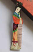 "Wood Comb, Beautiful Fashion . Multi Colour Beauty (Name "" Gui Fei "") Hand Craft, Master Hand Painted Boxwood Hair Comb, or Home Decoration and Artist Collection"