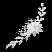 Bridal Wedding Jewellery Crystal Rhinestone Mesh Floral Linear SH Drape Hair Comb Pin