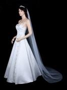 1T 1 Tier Cut Edge Bridal Wedding Veil - White Chapel Length 230cm
