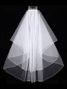 2T 2 Tier Pencil Edge Centre Gathered Bridal Wedding Veil