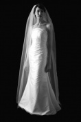 Chapel 1 Tier Length Plain Wedding Bridal Veil Cut Edge