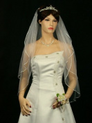 2T 2 Tier 0.6cm Ribbon Edge Bridal Wedding Veil
