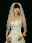 2T 2 Tier Pencil Edge Rhinestone Crystal Bridal Wedding Veil