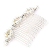 Bridal Wedding Jewellery Crystal Rhinestone Multi Size Pearls Hair Comb Pin Silver