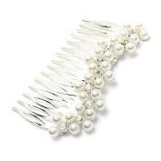 Bridal Wedding Jewellery Crystal Rhinestone Pearl Soft Waves Hair Comb Pin Silver