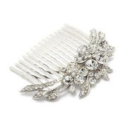 Bridal Wedding Jewellery Crystal Rhinestone Duo Flowers Hair Comb Pin Silver