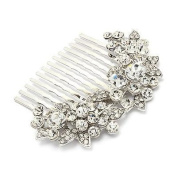 Bridal Wedding Jewellery Crystal Rhinestone Floral Hair Comb Pin Silver Clear