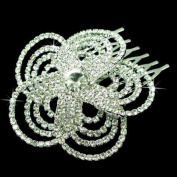 Bridal Wedding Jewellery Crystal Rhinestone Luxurious Floral Design Hair Comb Pin