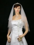2T 2 Tier Silver AB Beaded Scallop Edge Bridal Wedding Veil